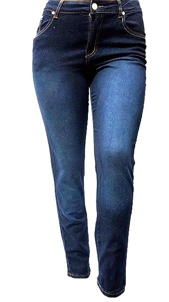 Amazon.com: do21 Azul Oscuro Denim Jeans Stretch cintura ...