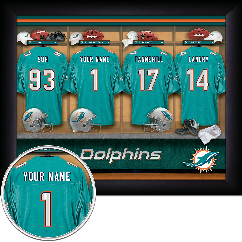 pretty nice fa819 ab95f Amazon.com: Miami Dolphins Personalized NFL Football Locker ...