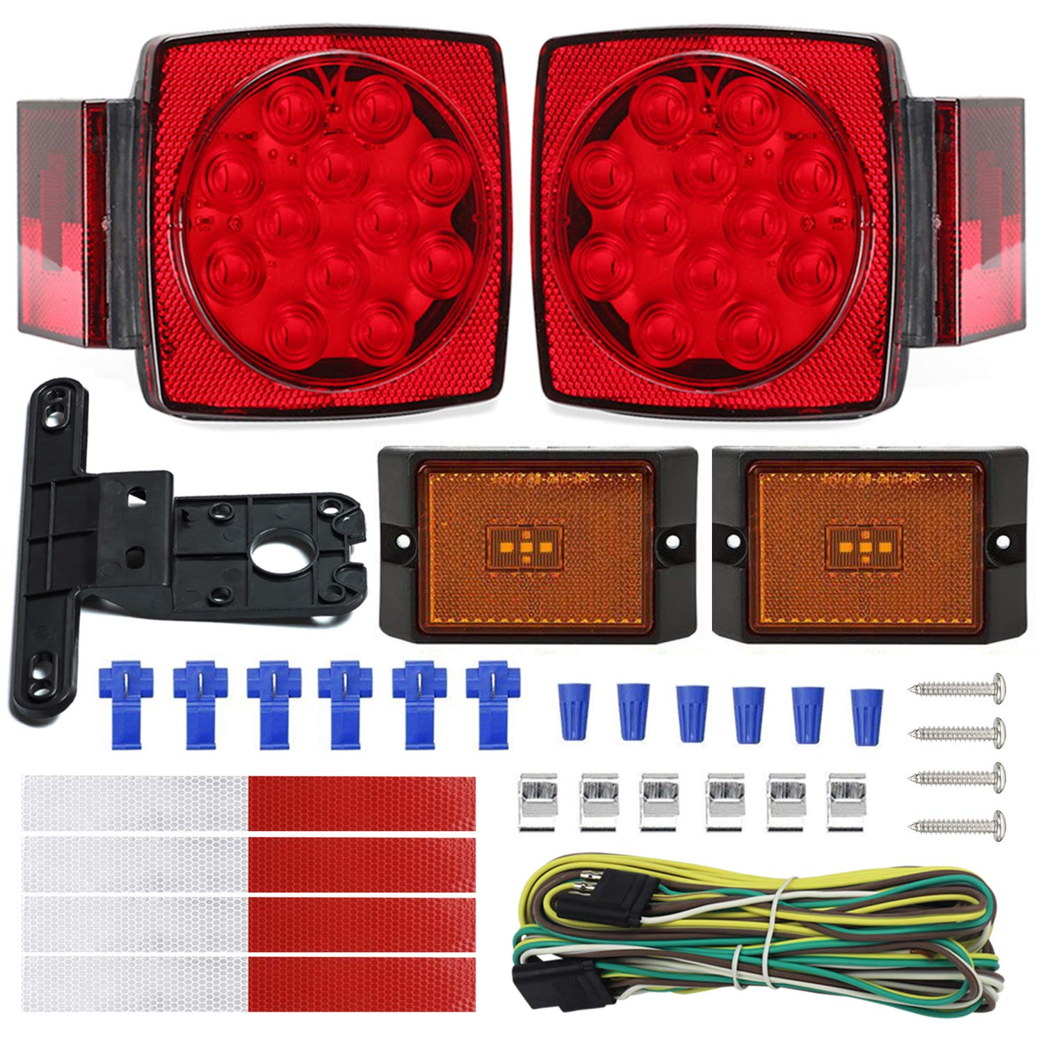 Nisuns Submersible Trailer Tail Lights Kit Waterproof 12v Led Wiring With Harness Combination Brake