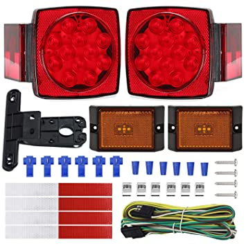NISUNS Submersible Trailer Tail Lights Kit, Waterproof 12V LED Trailer  Lights with Wiring Harness Combination Brake Stop Turn Running License  Lights