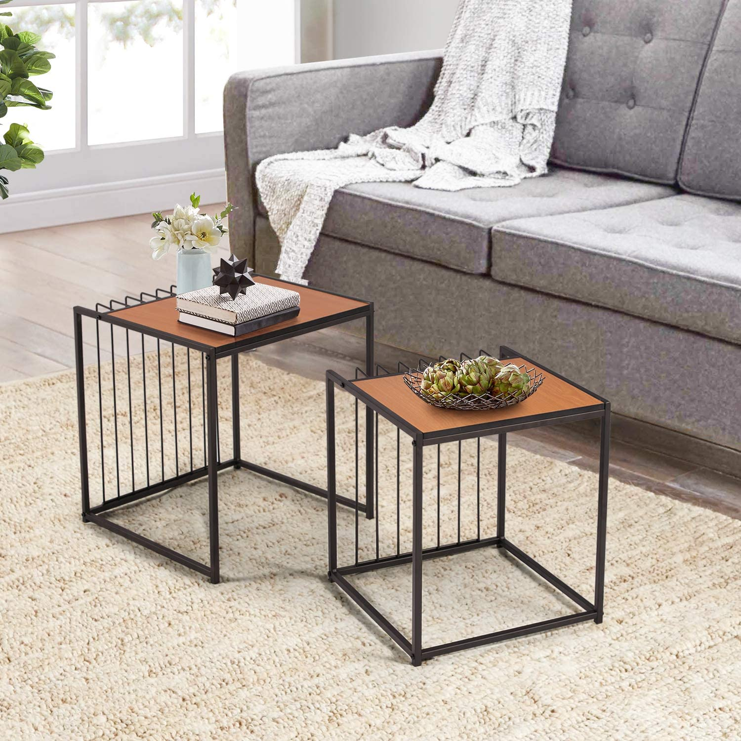 Set of 2 End Table for Living Room Balcony Home and Office VECELO Industrial Nesting Coffee Stacking Side Light Cheery
