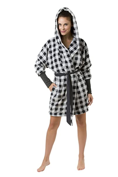 Envie Donna Accappatoio Vestaglia Sauna cappotto EVA con cappuccio e alla  moda lunghe maniche in bordeaux o a quadretti nero-bianco Large  Amazon.it   ... 86aae2235d5