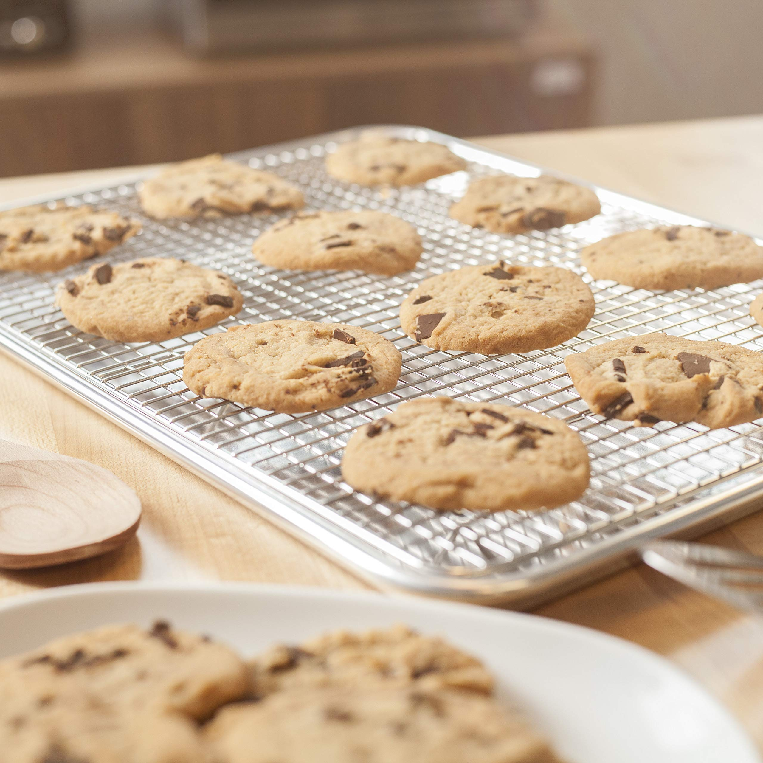 KITCHENATICS Baking Sheet with Cooling Rack: Half Aluminum Cookie Pan Tray with Stainless Steel Wire and Roasting Rack - 13.1'' x 17.9'', Heavy Duty Commercial Quality by KITCHENATICS (Image #7)