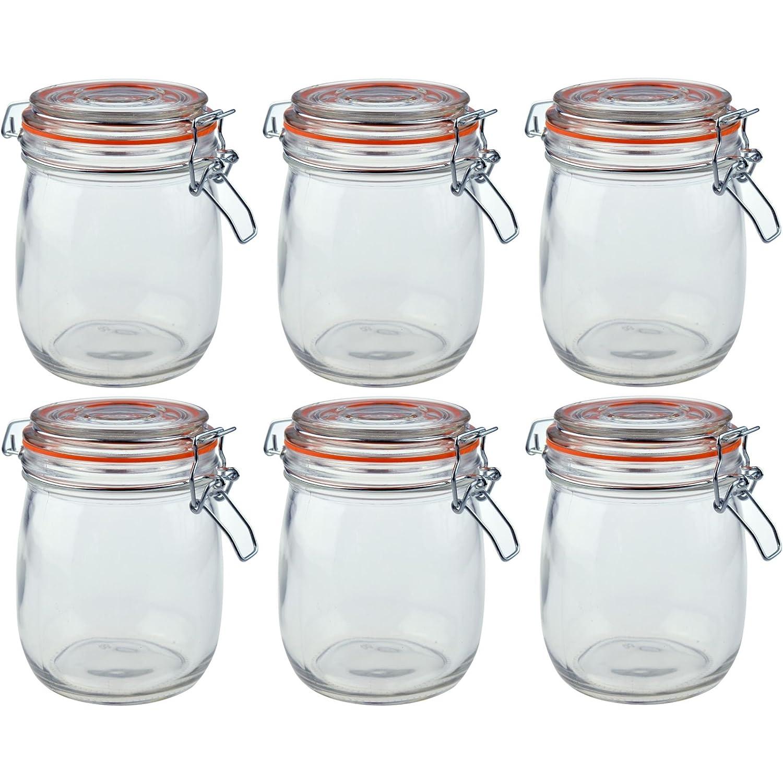 Argon Tableware Preserving/Biscuit Glass Storage Jars - 750ml - Pack of 6