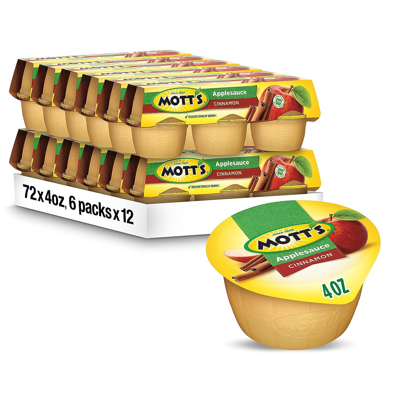 Mott's Cinnamon Applesauce, 4 oz cups, 6 count (Pack of 12)