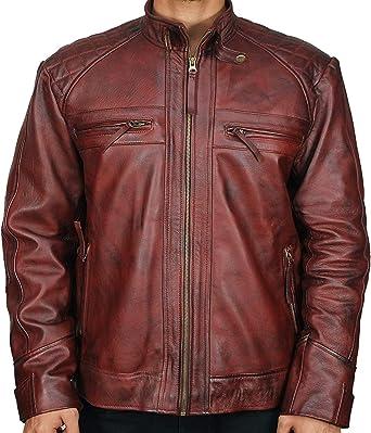 Jackets Hub Mens Distressed Brown Vintage Bomber Leather Jacket