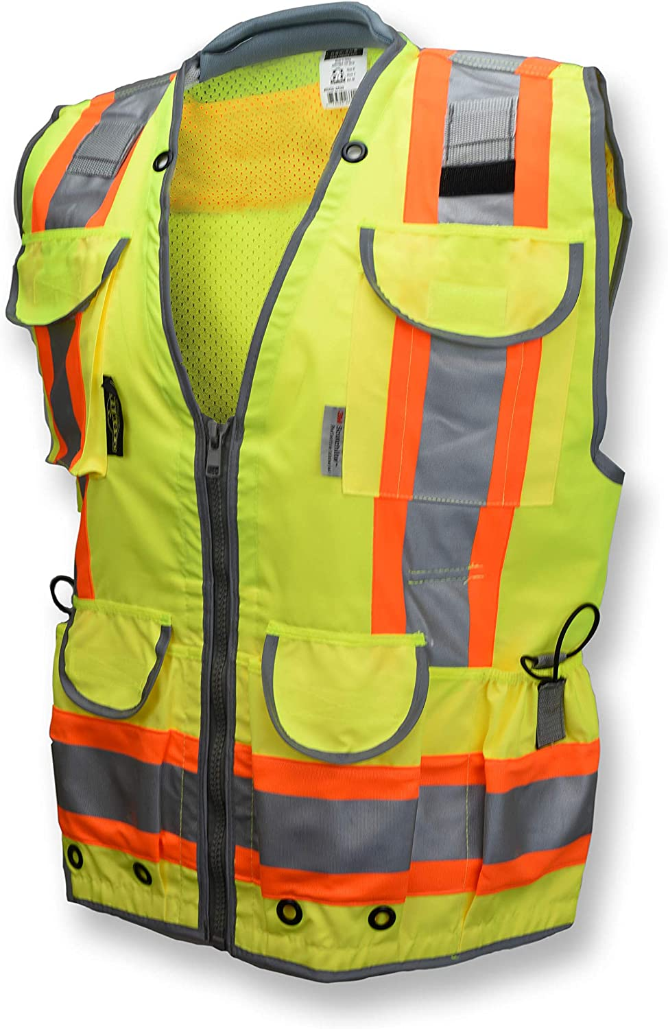 Radians SV55 Class 2 Heavy Woven Two Tone Engineer Vest with Padded Neck to Support Extra Weight in Cargo Pockets, Hi Viz Green or Hi Viz Orange