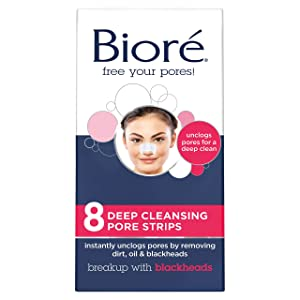 Bioré Most Trusted Blackhead Removing and Pore Unclogging Deep Cleansing Pore Strip Cruelty Free, Vegan, Oil-Free & Non-Comedogenic (8 Count) (Packaging May Vary)