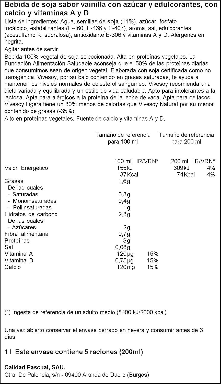 Vivesoy - Bebida de Soja sabor Vainilla - 1 L: Amazon.es: Alimentación y bebidas