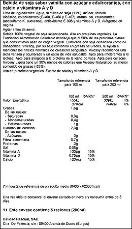 Vivesoy Bebida de Soja, Sabor Vainilla - Paquete de 6 x 1 L - Total: 6 L: Amazon.es: Amazon Pantry