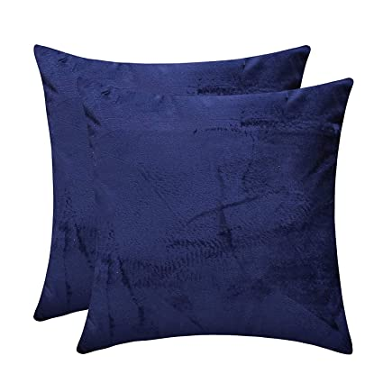 Marvelous The White Petals Navy Blue Couch Pillow Covers Solid Faux Velvet 24X24 Inch Pack Of 2 Ncnpc Chair Design For Home Ncnpcorg