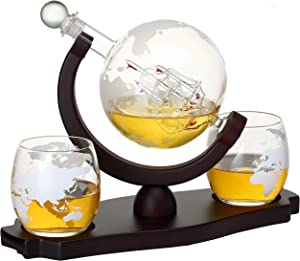 Verolux Whiskey Globe Decanter Set with 2 Etched Globe Glasses in Gift Box - for Liquor, Whiskey, Brandy, Gin, Rum, Tequila, Vodka, and Brandy - Home Bar Accessories for Men and Women - 850ml