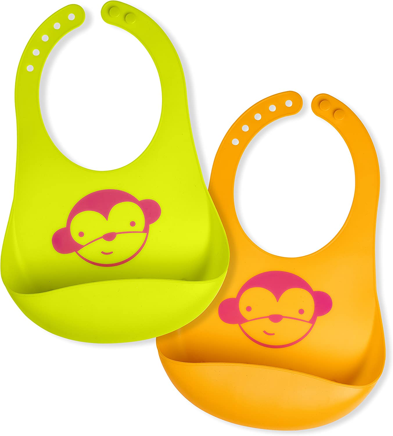 Pink//Purple Set of 2 Colours Comfortable Soft Baby Bibs Keep Stains Off Waterproof Silicone Bib Easily Wipes Clean Spend Less Time Cleaning after Meals with Babies or Toddlers