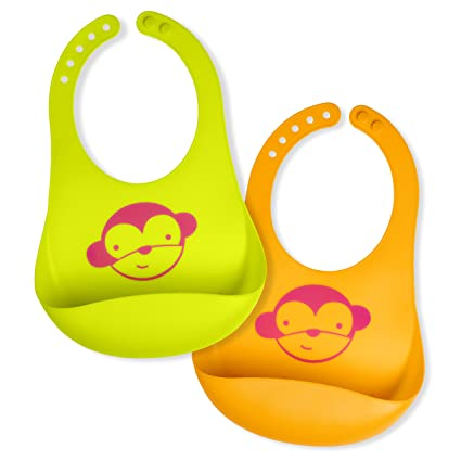 BPA-Free Adorable Crumb /& Drip Catcher Comfort-Fit Neck Waterproof Silicone Baby Bib Perfect Unisex Baby Shower Gift for Babies /& Toddlers. Light Weight Easy Wipe Clean 2 pack Soft
