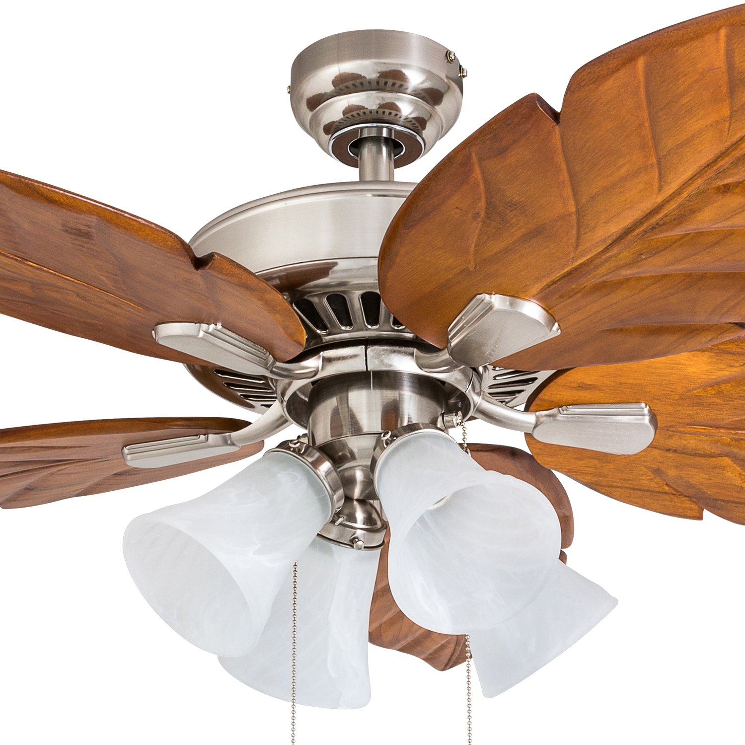Prominence Home 50662-01 Grayton Tropical Ceiling Fan, 52 , Dark Cherry Hand Carved Wood, Brushed Nickel