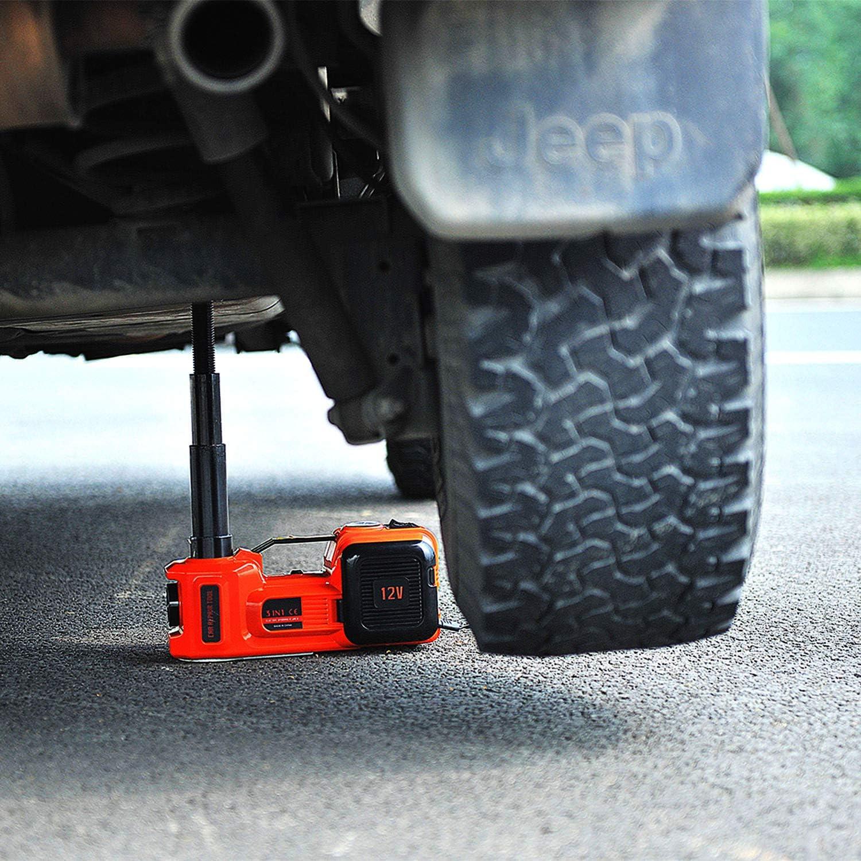 E Heelp Elektrischer Wagenheber 5t 12v Hebebereich 15 45 5cm Elektrische Hydraulischer Wagenheber Mit Reifenfüller Für Suv Reifenwechsel Auto