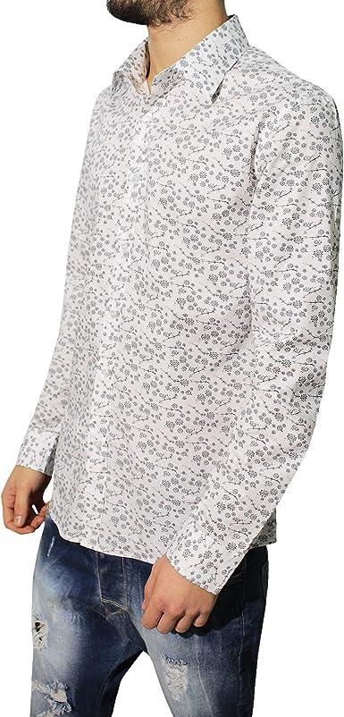 Camisa de Hombre Casual Slim algodón fantasía Flores Manga Larga Blanca Bianco S: Amazon.es: Ropa y accesorios