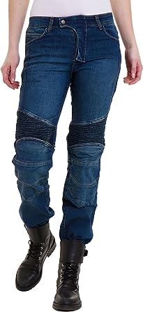 Qaswa Mujer/Motocicleta Pantalones Jeans Protector Revestimiento Motorcycle Biker Denim Pants