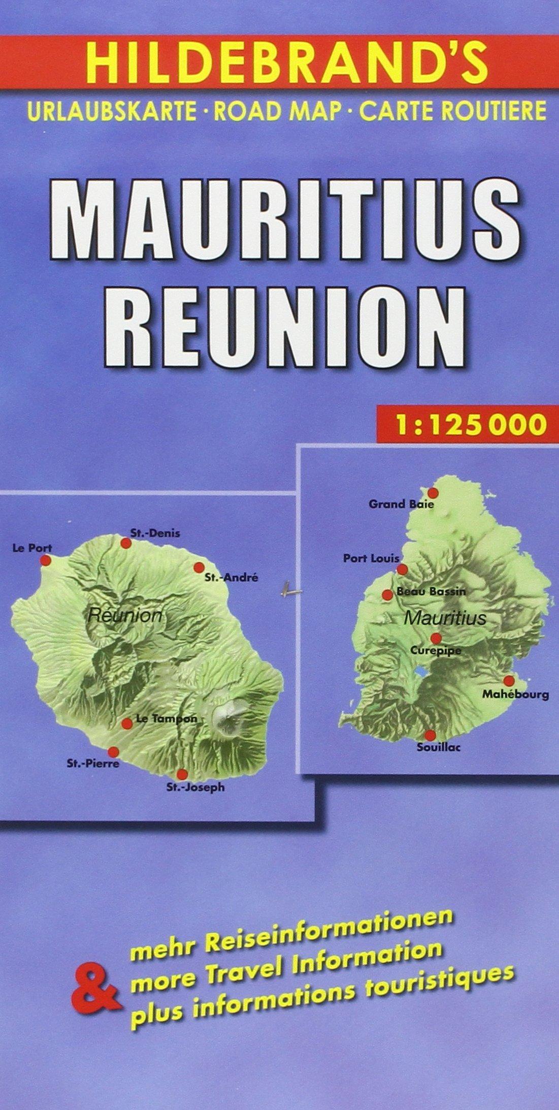 Hildebrand's Urlaubskarten, Nr.38, Mauritius, Reunion (Hildebrand's Africa / Indian Ocean Travel Map)