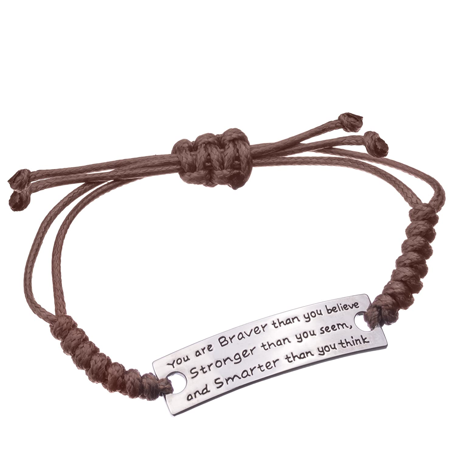 You are Braver than you believe Charming Little Inspirational Leather Bracelet Brown Angelus UK_B01FD8IIH0