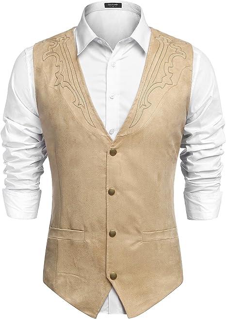 COOFANDY Mens Suede Leather Suit Vest Casual Western Vest Jacket Slim Fit Vest Waistcoat Medium