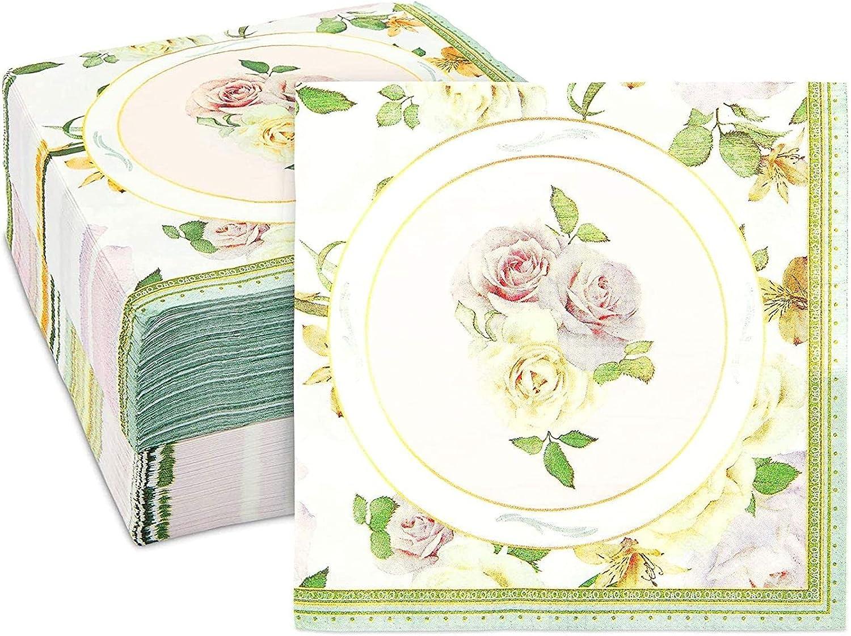 Vintage Pink Rose Napkins for Floral Bridal Party, Baby Shower (6.5 x 6.5 In, 150 Pack)