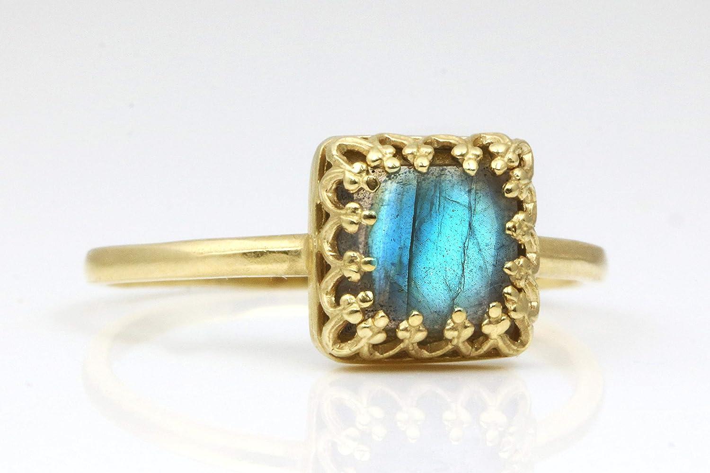 Gold Labradorite Ring Delicate Ring Small Stone Ring Stackable Thin Ring Gold Square Ring Labradorite Gemstone Ring