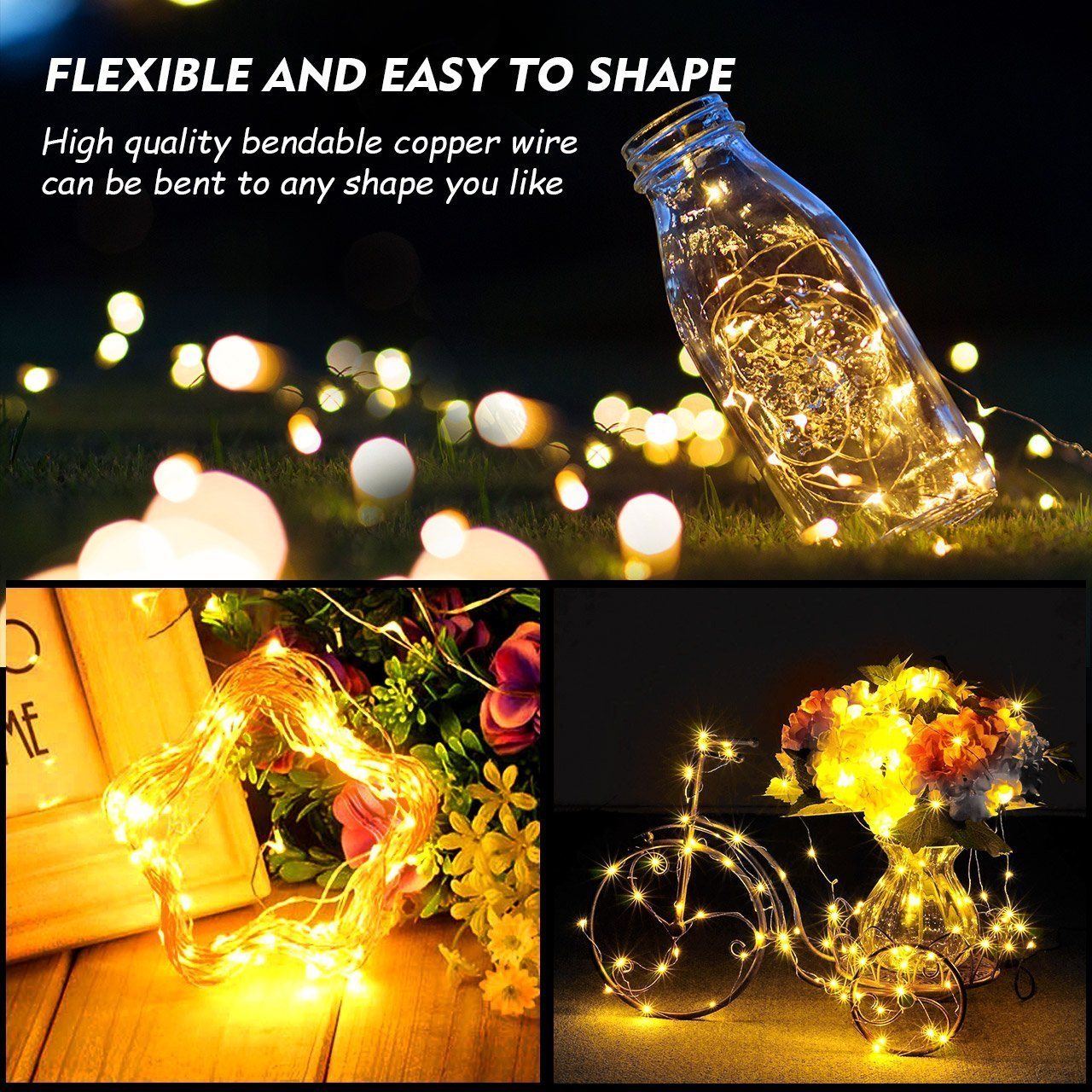 WJZXTEK 2 Pack LED String Lights, Dimmable with Remote Control Battery Powered 8 Modes Copper Wire Firefly Decorative Lights for Bedroom Wedding Festival Decor Parties 16.4ft 50 Led, Warm White