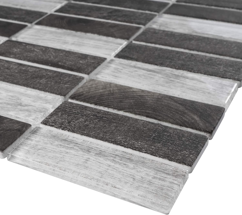 - Amazon.com: TREGLG-06 Mix Grey 1x4 Brick Recycle Glass Mosaic Tile