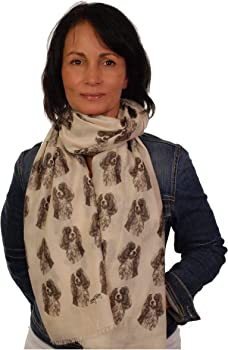scarf with Cavalier King Charles dog on women fashion printed shawl mike sibley