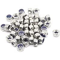 paquete de 10 M8 Nylon Nyloc hexagonal Métrico Hexagonal Tuercas de bloqueo brillante Cinc Plateado
