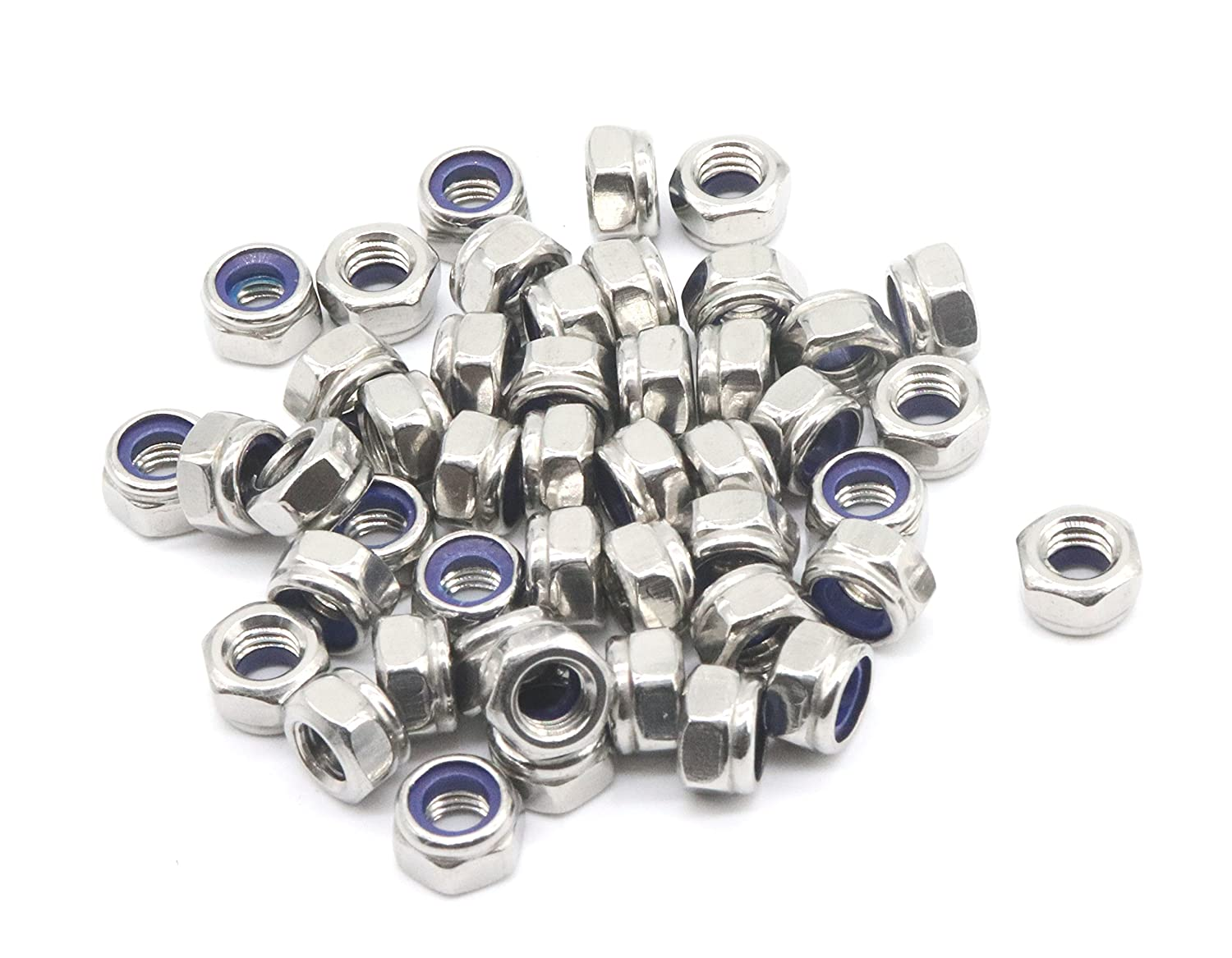 binifiMux 35Pcs M5 x 0.8mm 304 Stainless Steel Nylon Inserted Hex Lock Nuts