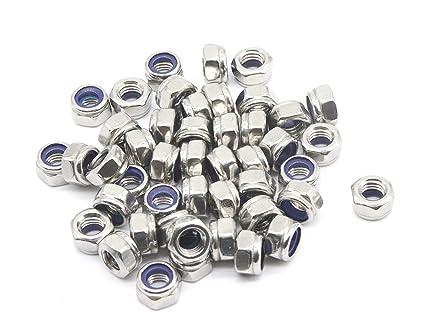 Sydien M6 x 1mm Self-Locking Nylon Insert Hex Lock Nut 304 Stainless Steel 100pcs