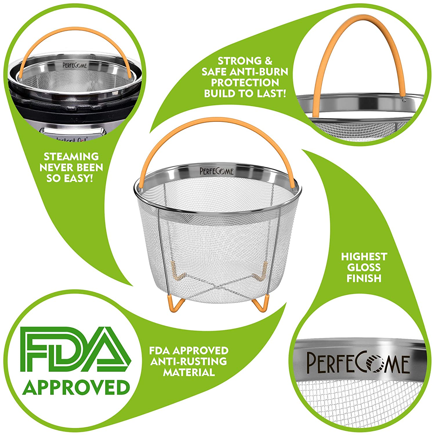 Veggie and Egg Mesh Basket Set with Silicone Handle and Non-Slip Legs Vegetable Steamer Basket for 6 and 8 qt Instant Pot Accessories Stainless Steel Strainer Fits InstaPot Pressure Cooker