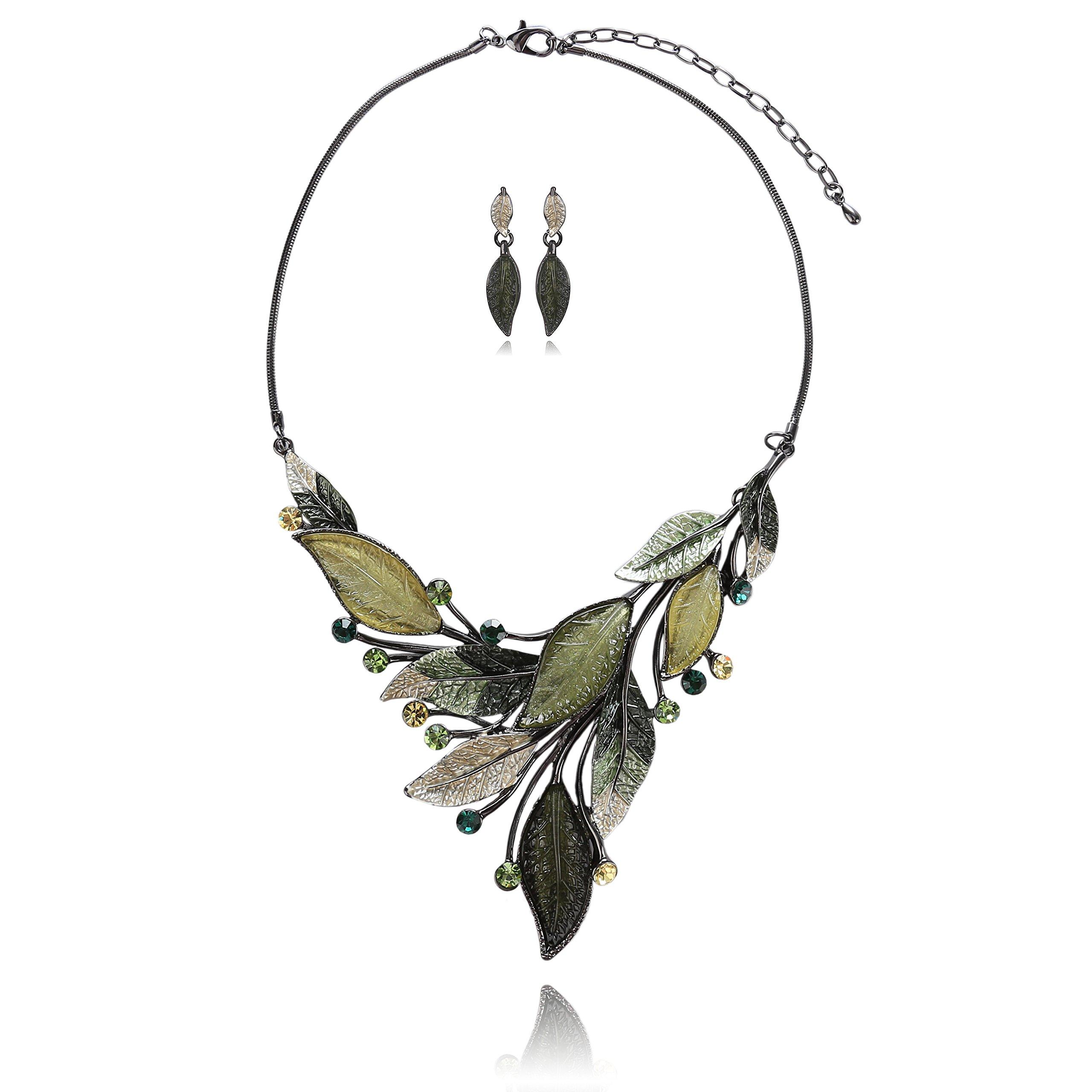 AMYJANE Vintage Statement Necklace Set - Spring Green Leaf Floral Crystal Rhinestone Statement Jewelry Set Fashion Bib Jewelry for Women Weddring Prom Party Elegant Gift Idea