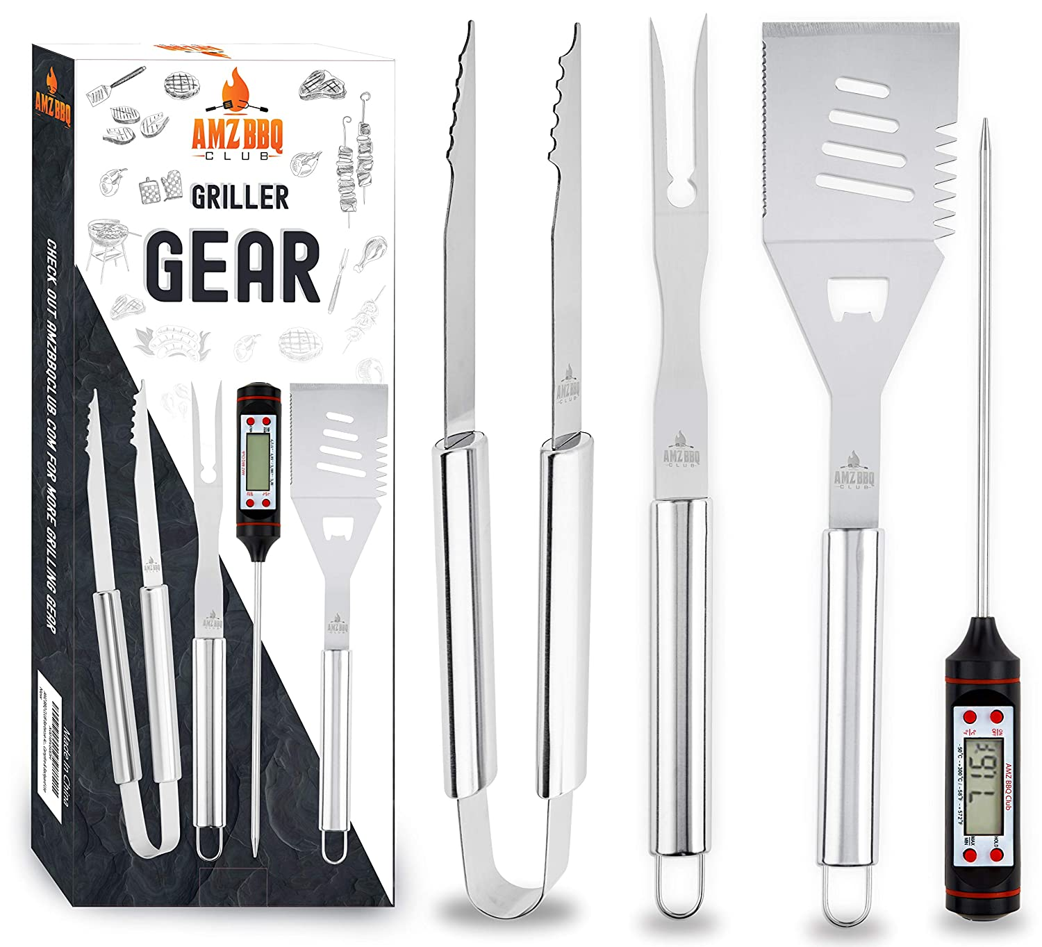 AMZ BBQ CLUB Barbecue Accessories Grilling Tools 4 Piece Set Premium Quality Grill Utensils – Instant Read Digital Thermometer, Spatula, Fork Tongs – for Home Kitchen, Campfire Backyard Use
