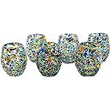 MAREY Juego de 6 Vasos Tequileros - Caballitos de Vidrio Soplado Artesanalmente en Mexico (Shot glass) (Barril, Granizado Mul