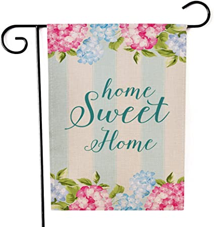 Amazon Com Ogiselestyle Hydrangea Home Sweet Home Floral Spring Garden Flag Double Sided Decorative House Small Yard Decor Flags For Indoor Outdoor Decoration 12 X 18 Inch Garden Outdoor