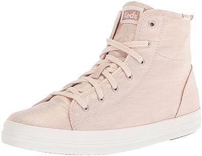 Keds Women's Kickstart Hi Metallic Linen Sneaker, Rose Gold, ...