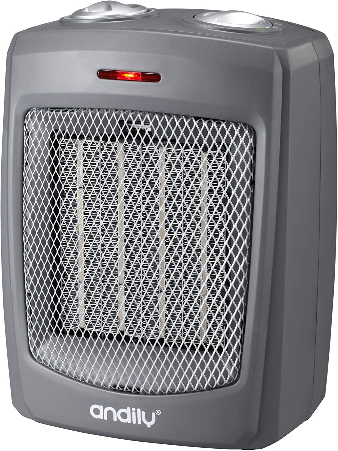 andily Portable Space Heater, Up to 260 Square Feet, Adjustable Thermostat, Ceramic Heater, Energy Save Technology , Rapid Heating, Overheat Protection and Carrying Handle, 4 Modes 750W/1000W/1500W