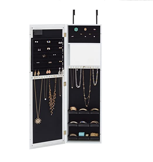 Amazoncom Mirrored Jewelry Armoire with LED Lights Weathered
