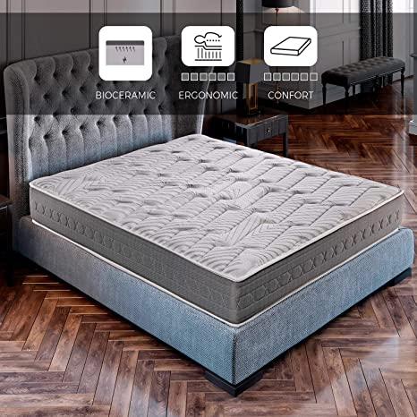ROYAL SLEEP Colchón viscoelástico Carbono 135x182 firmeza Alta, Gama Alta, Efecto regenerador, Altura 25cm - Colchones Ceramic Plus