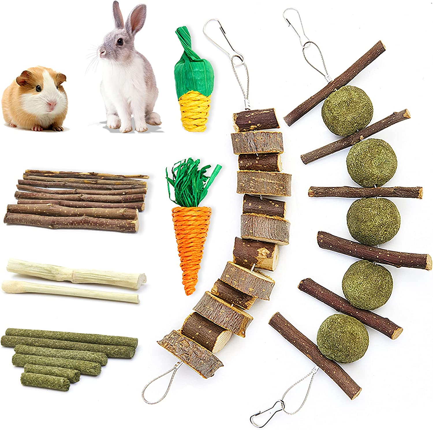 Blu&ben Rabbit Chew Toys for Teeth Grinding, Natural Organic Apple Wood Sticks with Timothy Hay Balls, Promote Dental Health, Cage Accessories for Bunny, Chinchillas, Guinea Pigs, Hamsters, Small Pets