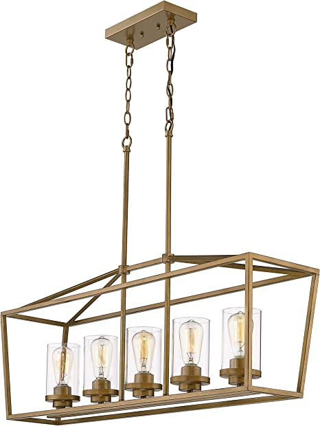 [SODI_2457]   Emliviar 5-Light Pendant Lighting for Kitchen Island, Dining Room Lighting  Fixture, Antique Gold Finish with Clear Glass Shade, P3033A-5LP-1 - -  Amazon.com | Wiring Diagram For 5 Light Chandelier |  | Amazon.com
