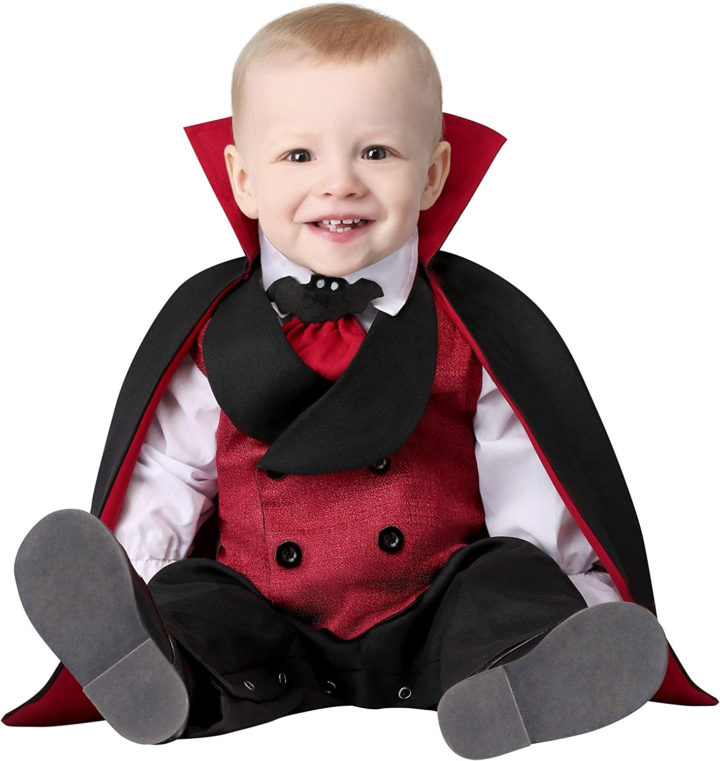 Baby Boy or Girl Halloween Count Dracula Vampire All in One /& Removable Cape New