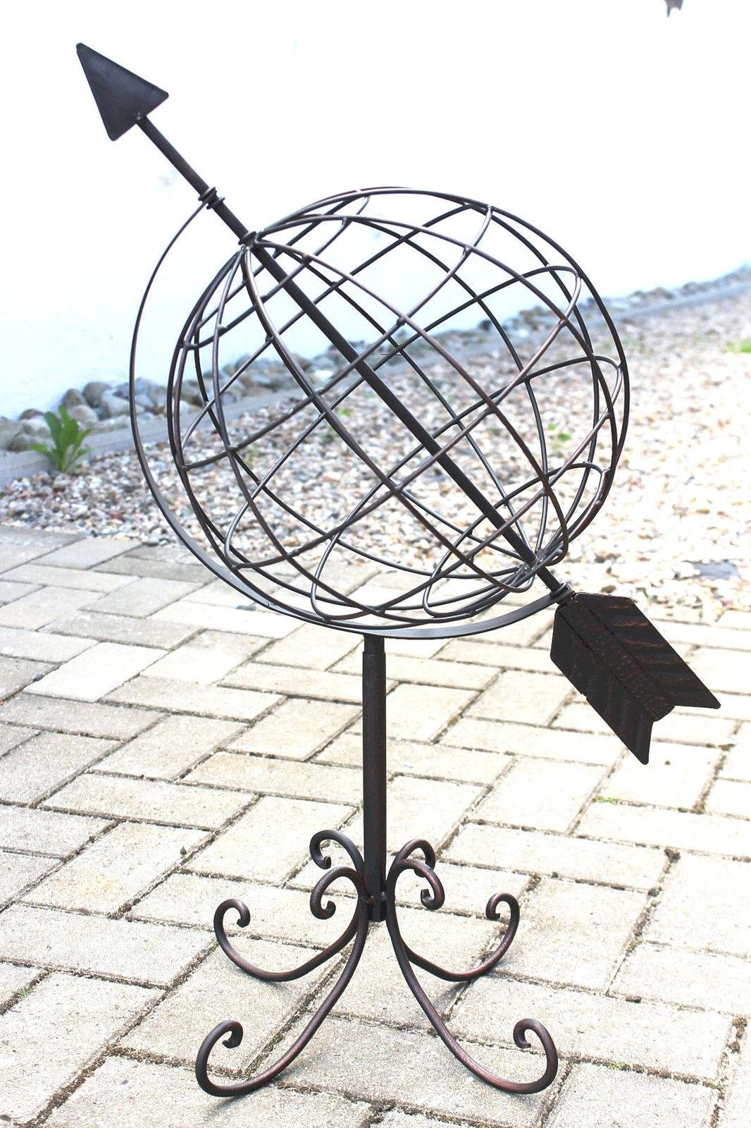 DanDiBo Globe made from metal 101806 Sundial Metal 72 cm Clock Garden decoration