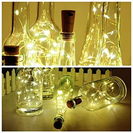 Botella de vino Luces con corcho, 2 metros con 20 LED Luces de cadena de alambre de cobre para botella Decoración de bricolaje, Bbq al aire libre, Fiesta, ...
