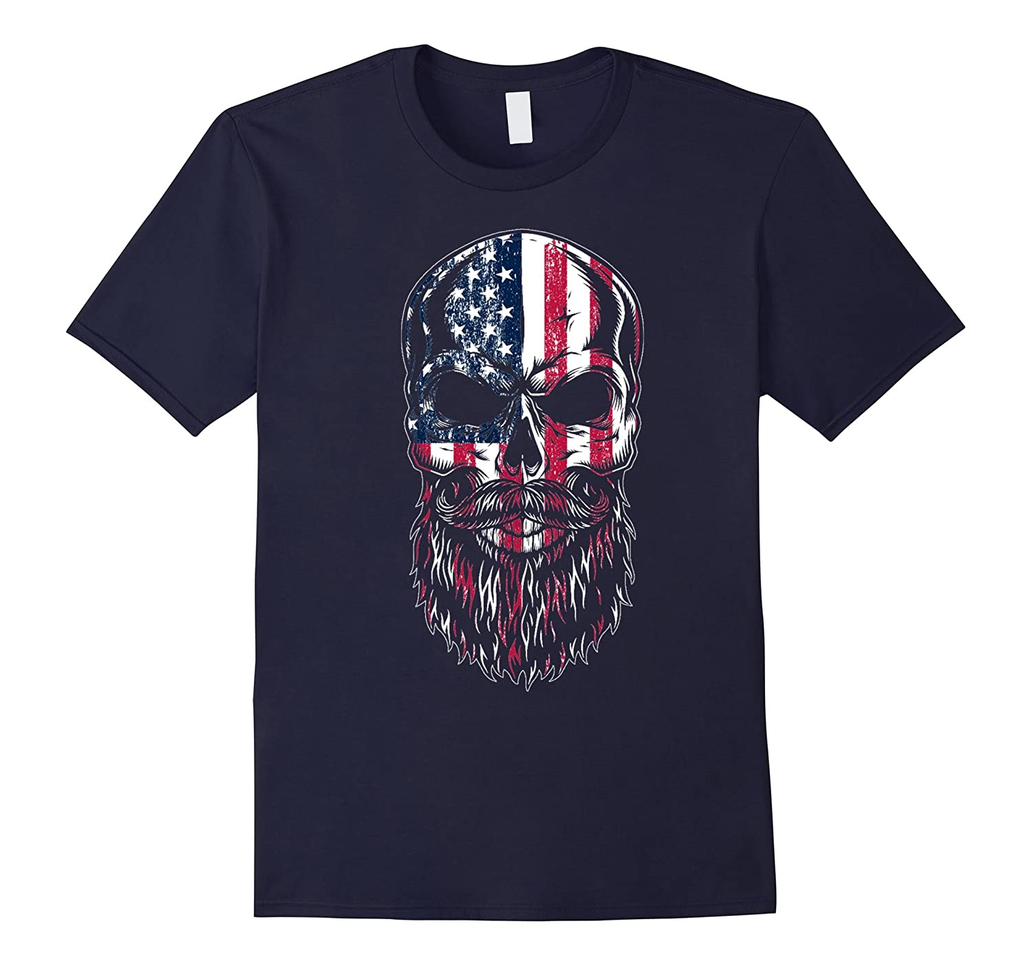 American Beard Skull Men's T-shirt Gift-RT
