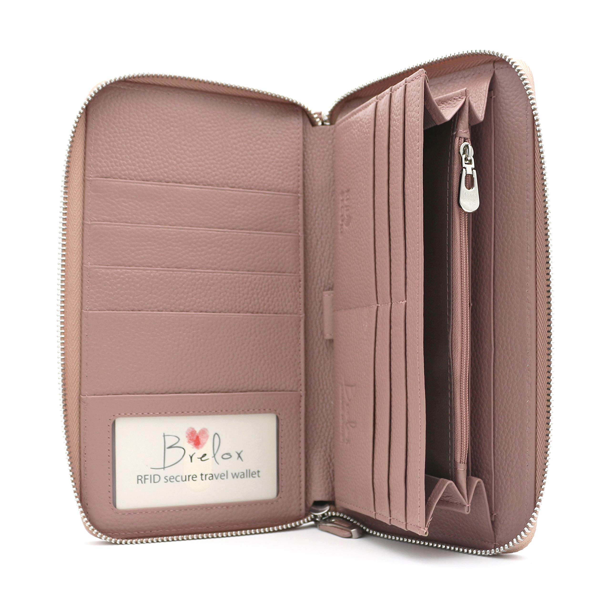 Brelox Travel Family Passport Holder Wallet - Pink - Genuine Leather - RFID Blocking - Zippered Organizer for Travel Documents - Passport Holder for 4 5 6 - ID Slot - Pockets for Cash & Boarding Pass by BRELOX GIFTS WITH PERSONALITY