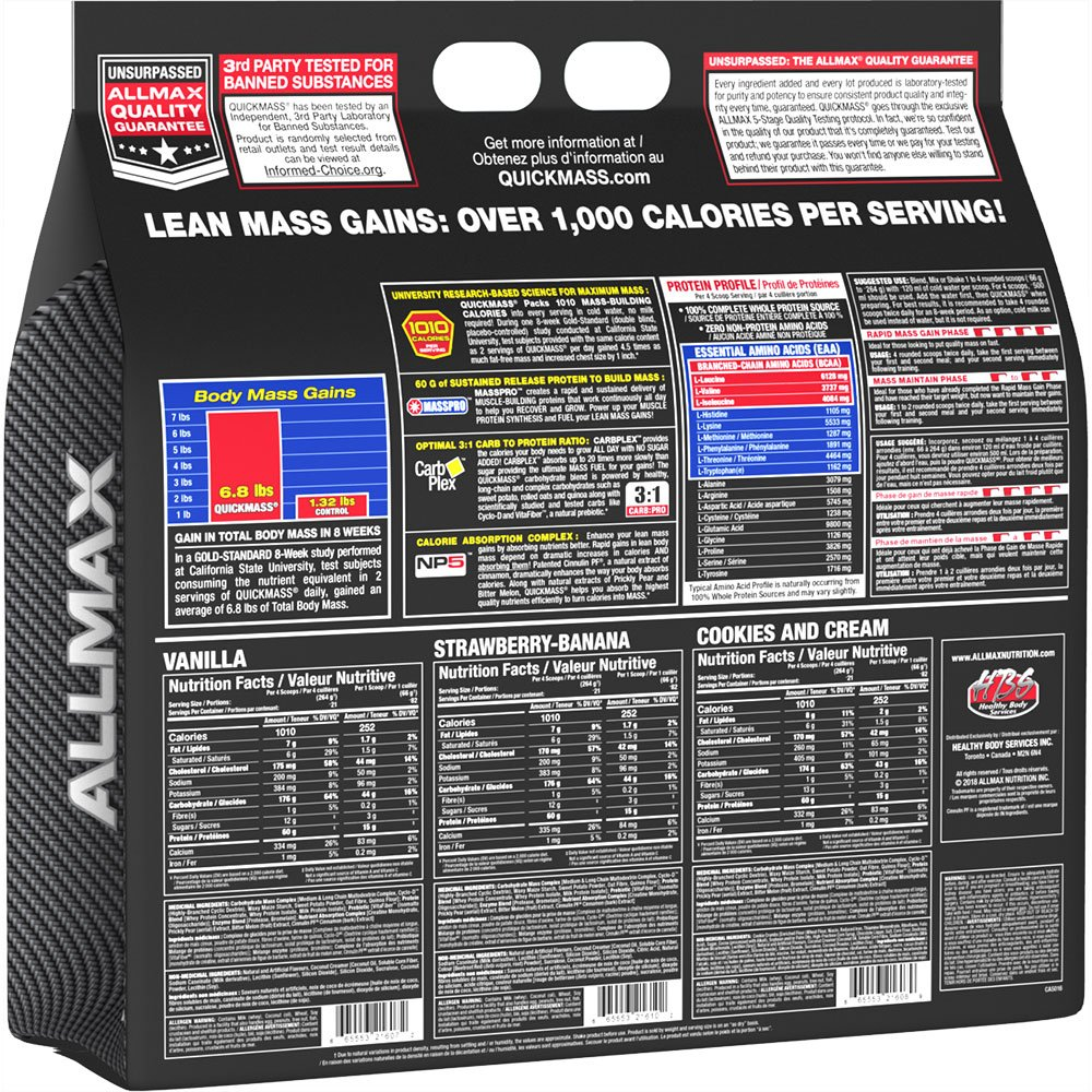 Allmax Quickmass Loaded Vanilla - 12 lbs by ALLMAX Nutrition (Image #2)